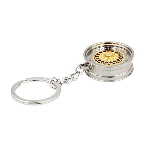 Preisvergleich Produktbild Culater Kreative Universal Beliebt Auto Auto Metall Mini Rad Felge Reifen Schlüsselanhänger (Gold)