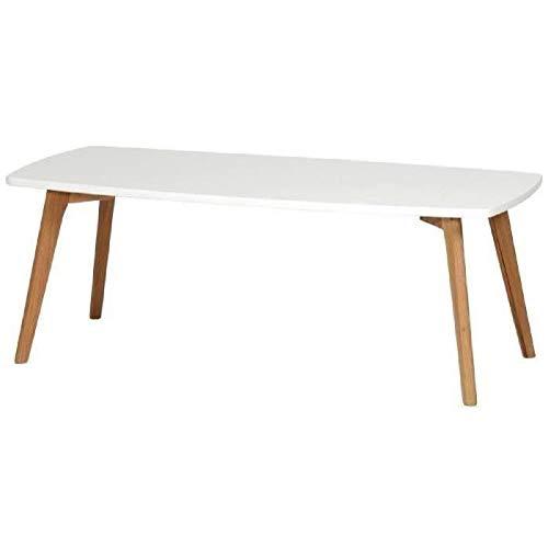 NORDIK Table basse scandinave blanc laqué avec cadre métal blanc et pieds bois chene massif vernis - L 110 x l 50 cm