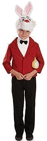 Kinder Kostüm Jungen Mädchen Weißer Hase Mr. Rabbit Alice Im Wunderland Tier Hase TV Film Cartoon Charakter Buchwoche Verkleidung Kostüm Outfit - Weiß, EU 104/116
