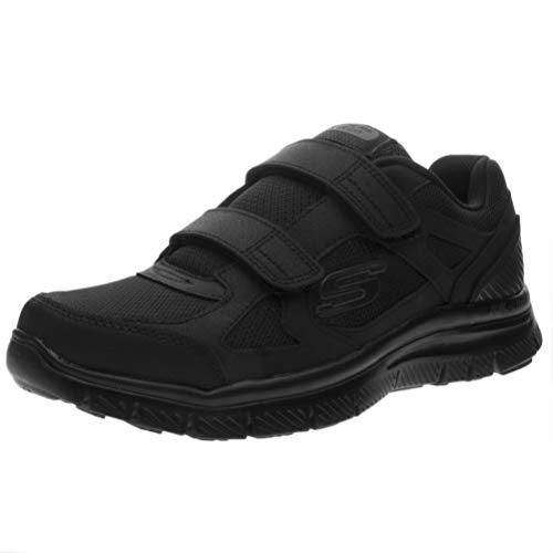 Skechers 58365 estello black nero scarpe uomo memory foam strappo 44