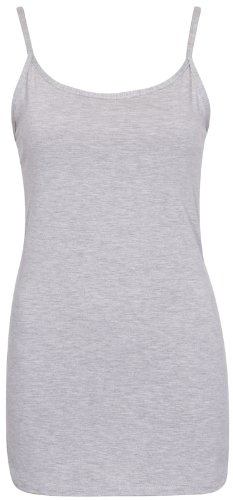 Femmes Neuf Sans Manche Uni Femme Extensible Rond Encolure Ronde Long à lanières T-Shirt Camisole Débardeur Gris Clair
