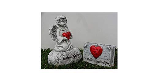 Grabengel Engel mit Herz und Grabbuch mit dem Spruch In stillem Gedenken 2er Set Grabschmuck Trauerschmuck Trauerengel Grabfigur Trauerfigur Friedhoffigur Gedenkstein
