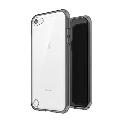 Plus Transparent Case (Hard Back & Soft Bumper Cover) with 8 Foot Drop Protection & Shock Absorbing Bumpers Case for Apple iPod Touch 6 / Touch 5 (Smoke Black)