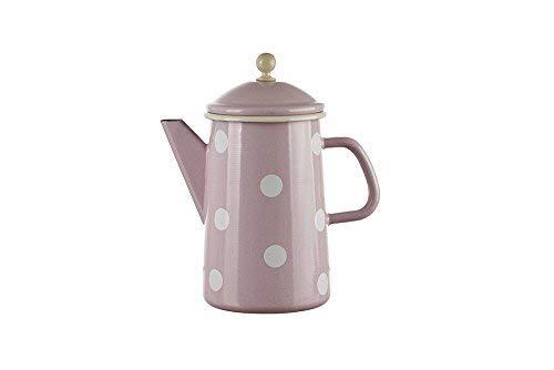 linoows Emaille Kaffeekanne, Deckelkanne, Tupfen Pastell Rosa- Weiß 1,6 Liter