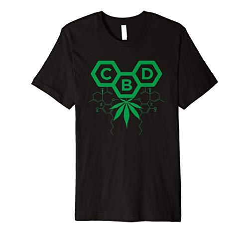 Grünes CBD Blatt-molekulares Entwurfs-T-Shirt -