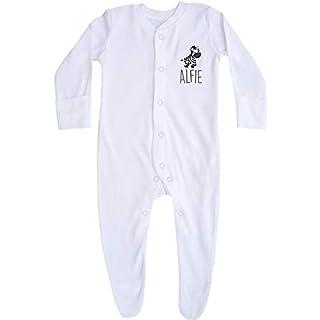 Personalised Baby Safari Animals Sleepsuit Gift (0-3 Months, Zebra)