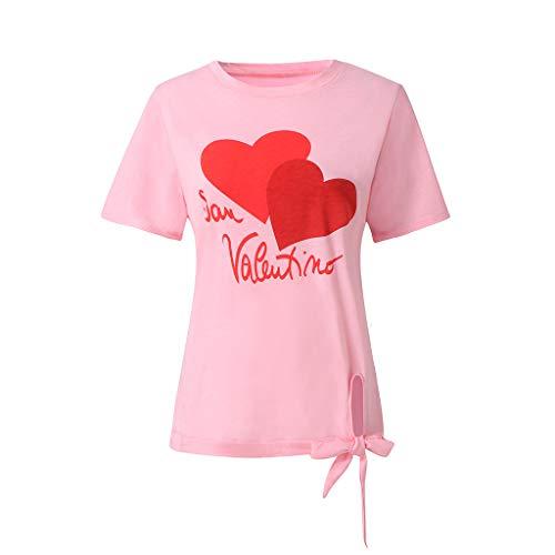 Zegeey Damen T-Shirt Print Kurzarm Rundhals MäDchen Sommer Tees Bluse Tops Oberteil(W2-Rosa,EU-40/CN-L)