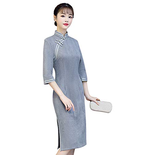 83afada38b3b Deylaying Vintage Cheongsam Cinese da Donna Qipao - Scamosciata Vestito  Elegante Slim Mezza Manica Abiti