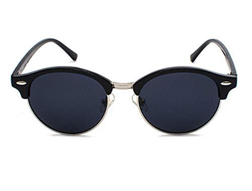 WSKPE Sonnenbrille,Halbe Rahmen Cat Eye Männer Sonnenbrille Polarisierte Spiegel Sonnenbrille Frauen Männer Schattierungen Brillen Uv400 Schwarz Silber Gestell Grau Linse
