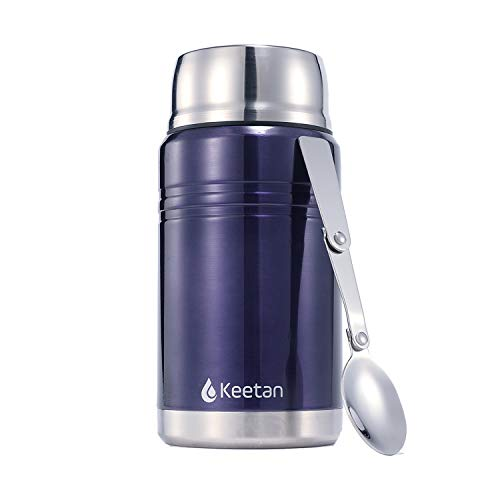 Stainless Steel Food Jar (Keetan Insulated Stainless Steel Food Jar with Folding Spoon,Bag-Vacuum Double Wall, BPA Free,Unbreakable,Leak Proof, Hot and Cold Preservation Food Container (Blue, 750 ML))