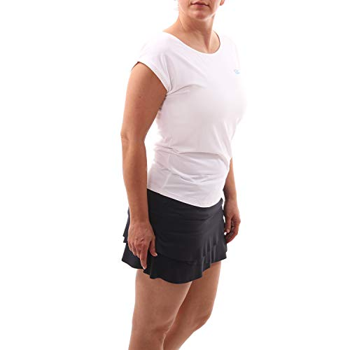 Sportkind Mädchen & Damen Tennis, Fitness, Sport Loose Fit T-Shirt, Weiss, Gr. S -