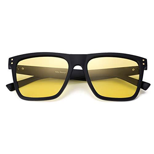 SIPHEW Nachtsichtbrille Autofahren-Gelbe Spezial Brillengläser mit Starker Kontrastverstärkung-Reflexionsfilte 100{476629055d1a0301b3e04e3d0192db8f8bc22dbc5e336874374d8ae8c8dc37c9} UVA/UVB Schutz