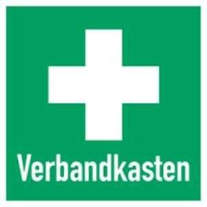 Inter Flower - Rettungszeichen KOMBISCHILD ERSTE HILFE / VERBANDSKASTEN - Warnschild - Erste Hilfe - 25 x 25 cm - PVC/Plastik - grün - Arbeitsschutz - Warnzeichen Kunststoffschild - Arbeitsplatz - Betrieb - Schutz