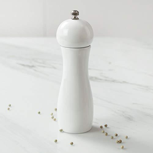 DeroTeno Pfeffermühle aus Eichenholz, verstellbares Keramikmahlwerk, H 17 cm, weiß lackiert