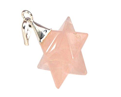 Quarzo rosa 8punto stella merkaba pendant sacred geometry guarigione chakra bilanciamento a +