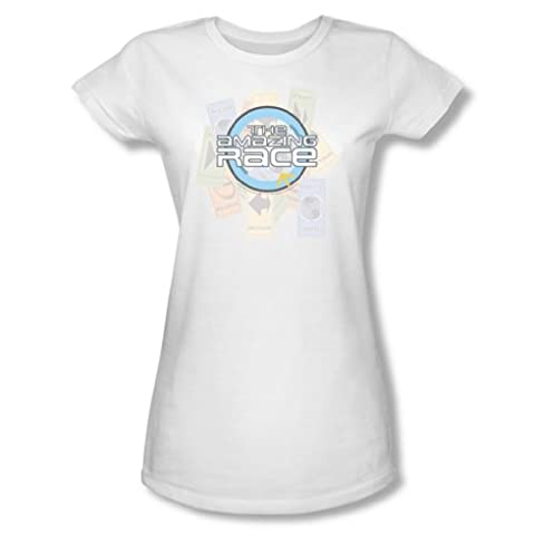 Cbs - The Amazing Race / den Race junge Frauen T-Shirt in Weiß, Small, White
