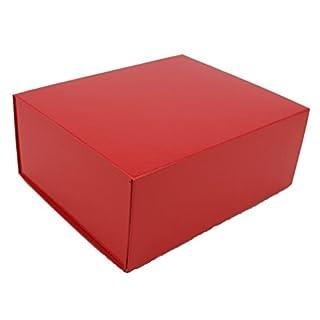 Red Gift Box Magnetic - Flat Pack Self Assemble Box 21cm x 17cm x 9cm