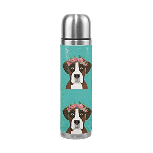 Boxer Dog with Cut Lines - Dog Panel, Dog, Cut and Sew - Floral 17 Oz(500ML) Double Layer Leak-Proof Stainless Steel Vacuum Insulated Water Bottle -