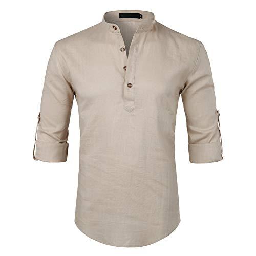 Baumwolle Rolled Sleeve Shirt (PARKLEES Schwarz Baumwolle Leinen Hemd MännerHerbst New Rolled Up Sleeve Herren Casual Kleid Shirts Slim Fit Henley Hemd Männlich Chemise Homme)
