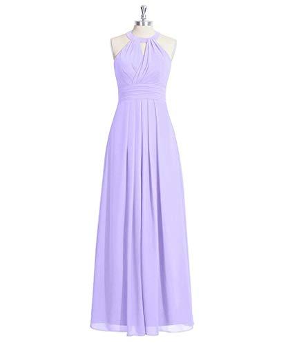 KAIDUN Damen Schulterfrei Chiffon Abendkleider Lang Brautjungfern Kleid Violett 36