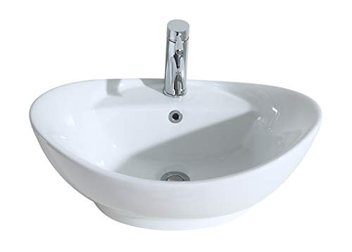 Eridanus Série Lottie, Vasque à Poser Bol Ovale Trop-Plein Lavabo Salle de Bain Lave-Mains Évier en Céramique L59*L39*H21cm