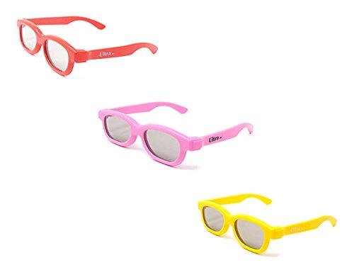 Mezclado de colores 3 pares de niños pasivos gafas 3D uno rosa uno amarillo y uno rojo para niños Universal para pasiva TV de cine y proyectores como RealD Toshiba LG Panasonic