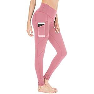 Queenie Ke Damen Yoga Leggings Power Flex Mesh Mittlere Taille 3 Handytasche Gym Laufhose