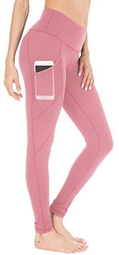 QUEENIEKE Damen Yoga Leggings Power Flex Mesh Mittlere Taille 3 Handytasche Gym Laufhose Farbe Blasses Rosa Größe XL(14)