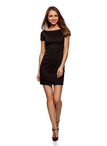 oodji Ultra Damen Jerseykleid mit U-Boot-Ausschnitt, Schwarz, DE 34 / EU 36 / XS (Kleid Das Kleine Schwarze)