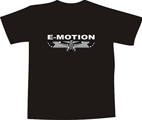 T-Shirt E1197 Schönes T-Shirt mit farbigem Brustaufdruck - Logo / Grafik / Design - abstrakter Adler mit Schriftzug E-MOTION Weiß