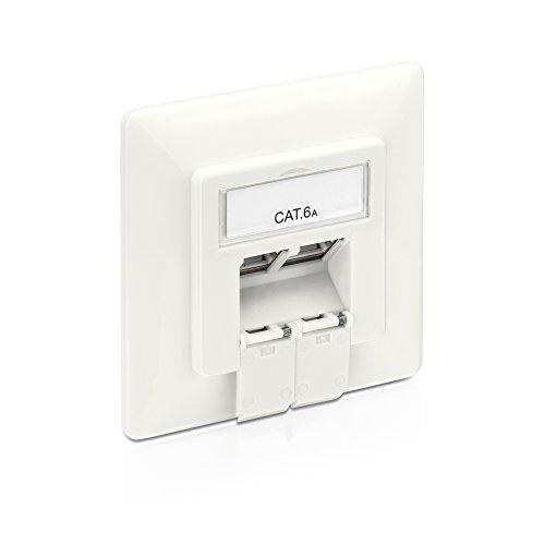 PureLink MCA200 - Caja de Conexiones Cat 6A (2 Tomas RJ45 Red, Ethernet blindada de 10 GB), Blanco