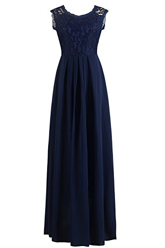 Babyonlinedress Abendkleider Lang Elegant für Hochzeit, Damen Ärmellos Spitzenkleid Brautjungfer Partykleid Festliches Kleid, XL, Blau