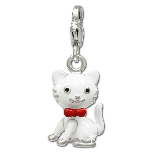 SilberDream Charm 925 Echt Silber Armband Anhänger rot weiß Kätzchen FC693 (Sterling Silber Katze Armband)