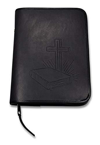 Uljö Hochwertige Bibelhüllen mit Motiv-Prägung Bibel/Kreuz (klein, Schwarz)