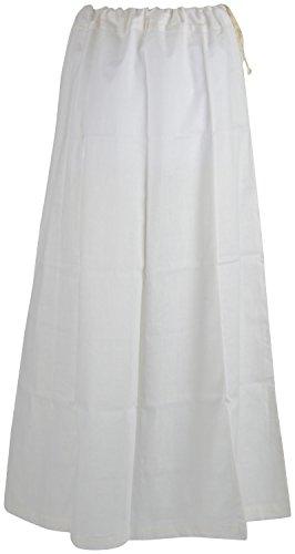 PratiKomal Women's Cotton Petticoat (IC33_6 Part, White, 6 Part)