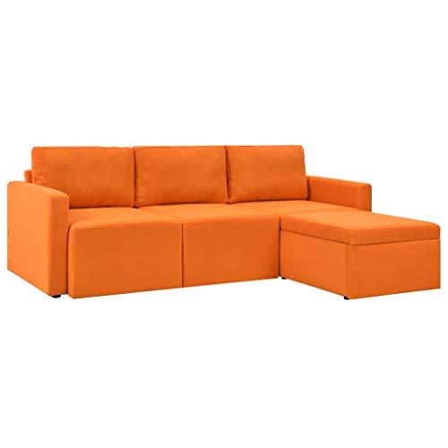 Tidyard divano letto copridivano sedia tinta unita, multicolore protezione per divani imbottiti a 3 posti in pelle artificiale 215 x 151 x 72 cm (l x p x a) arancione
