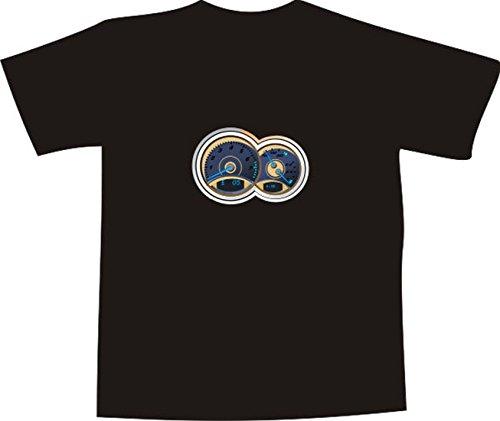 T-Shirt E246 Schönes T-Shirt mit farbigem Brustaufdruck - Logo / Grafik - minimalistisches Motiv - Tacho und Drehzahlmesser Weiß