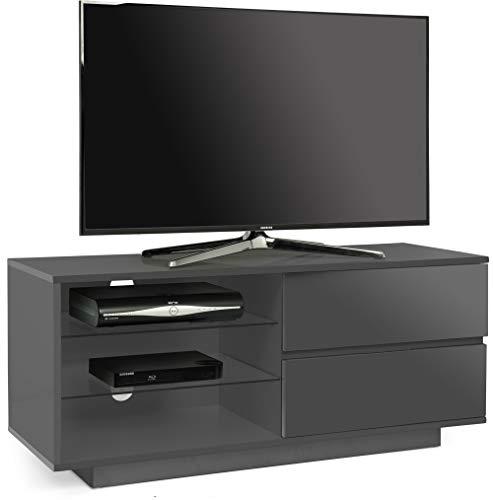 allus TV-Schrank mit 2 Schubladen und 3 Ablagen für Flachbildfernseher bis 139,7 cm, Steingrau ()