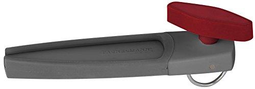 FACKELMANN Dosenöffner, praktischer Konservenöffner mit Schneidrad aus Edelstahl, Universalöffner für Deckel ohne scharfe Kanten (Farbe: Rot/Grau oder Grau/Rot - Nicht frei wählbar), Menge: 1 Stück