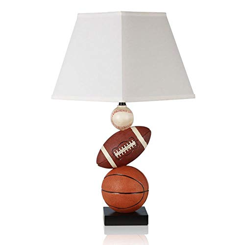 Umwelt Harz Tischlampe, Schlafzimmer Nacht Beleuchtung Lampe, Beige Quadrat Stoff Lampenschirm, Sport Basketball Rugby Baseball Modellierlampe, Braun E27