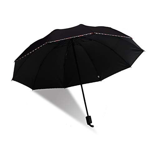 comehai Regenschirm automatische tragbare Reise Regenschirm Geschenktüte Trockenbeutel,Regenschirm aus zehn knochenschwarzem Gummi, dreifach faltbar3 100cm