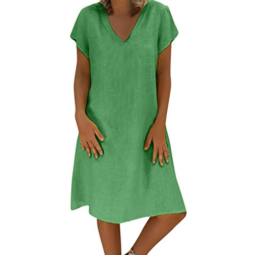 XuxMim Damen Sommerkleid Casual Chiffon Taste Kurzarm Krawatte Taille Polka Dot Einfarbig Strand Mini Shirt Kleid(Gras-Grün,XX-Large)