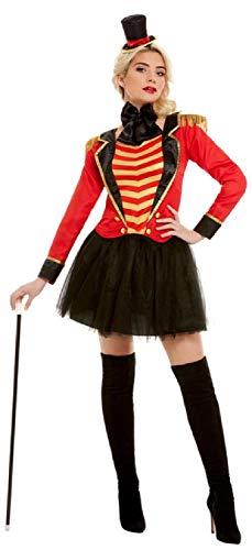 Kostüm Circus Performer - Fancy Me Damen Rotes Deluxe Ringmaster Circus Showman Performer Karneval Kostüm Outfit UK 34-18