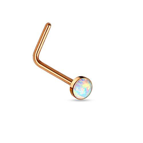 PiercedOff Piercing nez tige en L droite opale blanche (disponible en 3 couleurs) Or Rosé