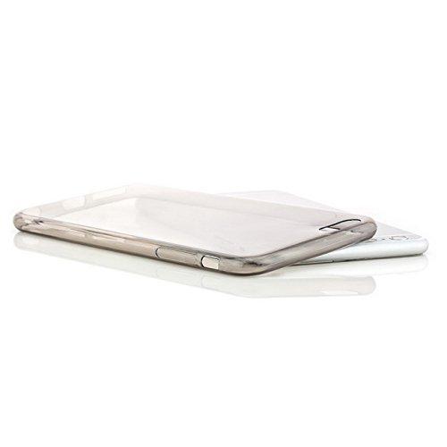 iphone 6 Plus / 6S Plus (5,5 Zoll) Hülle, Saxonia® Schutzhülle + Panzerglas Ultra Slim Silikon Case Handyhülle Back Cover Transparent Grau