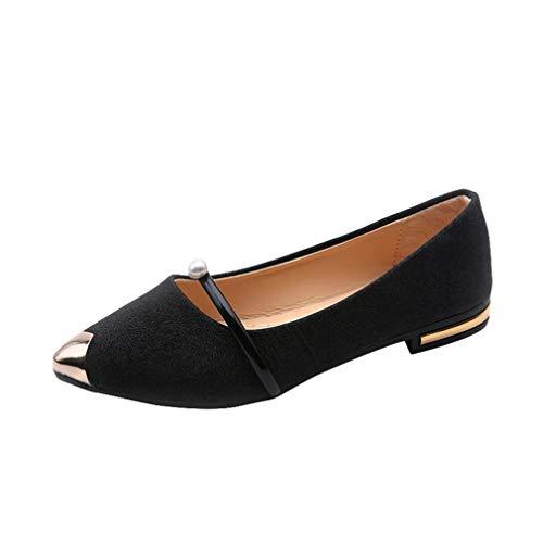 Mxssi Damen Spitze Zehe beiläufige niedrige Ferse Flache Klassische Schuhe Slip-On Bootsschuhe Formale SchuheDamen Geschlossene Ballerinas für Damen Teens Mädchen