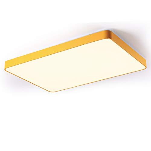 Topdeng moderno plafoniera rettangolare, led 80w nordico minimalista giallo lampada da soffitto incasso sottile acrilico plafoniera luce-bianco freddo 88x63cm-80w