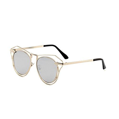 SUNGLASSES New Arrow Sonnenbrille Mode Damen Polygonale Gläser Herren Sonnenbrille Hohle Linse (Farbe : Silver Frame White Mercury Piece)
