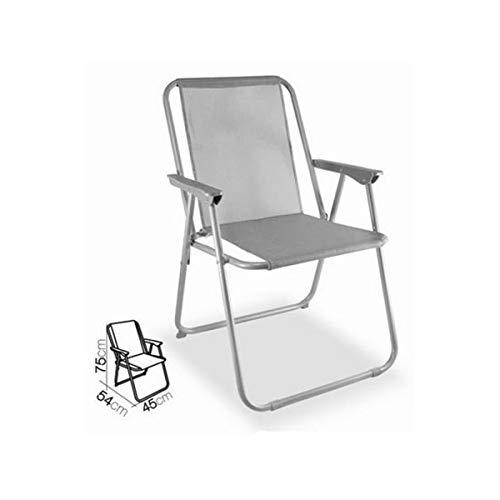 Cisne 2013, S.L. Silla Plegable de Aluminio con reposabrazos para Playa, jardín o Exteriores. Color Gris. Silla Plegable Tumbona Medidas...