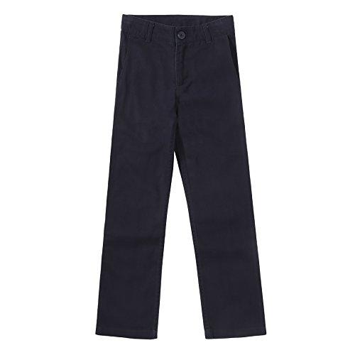 Marine-blau-uniform Hose (Bienzoe Groß Jungen Schuluniformen Baumwolle Dehnbar Schlank Flache Vorderseite Einstellbar Taille Hose Marine Größe 12)